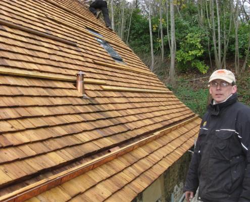 Maison individuelle tuiles bois - Glot Couverture